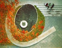 The landscape architects at Michael Van Valkenburgh Associates worked with sculptor Martin Puryear to design this courtyard at the New School University. The courtyard includes a spiral ramp that provides wheelchair access to the terrace. Courtesy Michael Van Valkenburgh Associates, Inc.