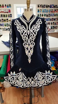 Gorgeous Navy Blue Irish Dance Solo Dress by Prime Dress. Stunning Celtic knot embroidery. Beautiful traditional elegance.