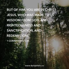 1 Corinthians 1:30  But of him, you are in Christ Jesus, who was made to us wisdom from God, and righteousness and sanctification, and redemption.