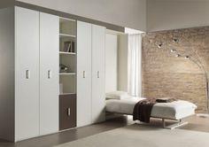 Opklapbed Flat met veel kasten, bergruimte Bed 90 x 200cm. functionele ruimte Kleur : alpine wit