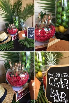 Cigar bar for my husband's Havana Nights themed birthday party. Fedora. Cigars. Limes. DIY Chalkboard Sign. Majesty Palm. Cigar Boxes. Guests loved it! Cuban party Cuba
