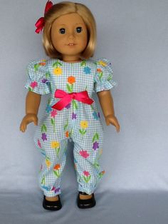 18 inch doll rompers and hair clip. Fits American by ASewSewShop