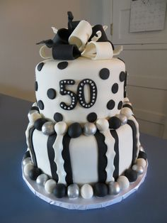 50th birthday cake - 50th black and white birthday cake!
