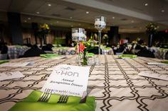 An awards ceremony for the HON company. HON green was incorporated in the design  / Venue: Forum River Center, Rome, Georgia / Event Design: Palate catering | design Atlanta, Georgia / Photography: Martin Kincaid