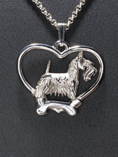 """Sterling Silver Scottish Terrier Pendant w/18"""" Silver Chain by Donna Pizarro fr her Animal Whimsey Collection of Fine Dog Jewelry"""