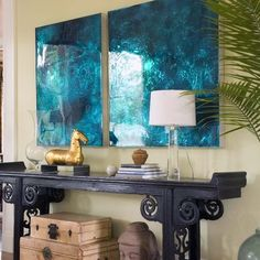 The Chinese Console Table and accents pair beautifully with the vibrant blue art work. Asian Living Photos Design Ideas,