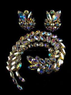 Sherman Brooch Earrings Set Designer Signed by hipcricket on Etsy