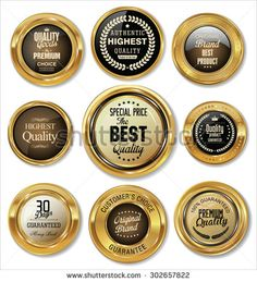 Quality golden badges and labels collection - stock vector