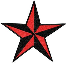 "[Single Count] Custom and Unique (2"" Inches) Five Pointed Geometric Two Tone Nautical Star Iron On Embroidered Applique Patch {Red and Black Colors}"