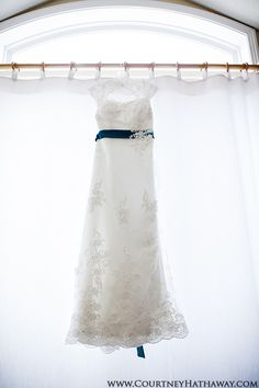 Wedding Dress, Lace Wedding Dress, Wedding Dress with Blue Sash, Beach Wedding, Dress Shot