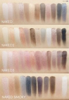 Top-bottom: Urban Decay Naked, Naked2, Naked3, and Naked Smoky Eyeshadow Palettes