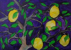 GEMÄLDE ÖL KUNST ABSTRAKTE MALEREI UNIKAT ORIGINAL Zitronenbaum BILD Lemon tree