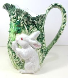Shafford Rabbit Patch Tall Cabbage Pitcher 1987 #Shafford -- I collect this pattern! --wk--
