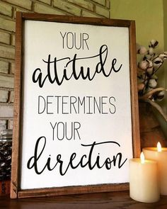 So much truth in this quote! Your attitude determines your direction Wood Sign - Farmhouse sign - Inspirational wall decor - Teacher Gift idea - Positive thinking - Motivational decor, Rustic decor, . Home Decor Signs, Diy Signs, Diy Home Decor, Rustic Signs, Wooden Signs, Rustic Decor, Rustic Office Decor, Office Signs, Office Wall Decor