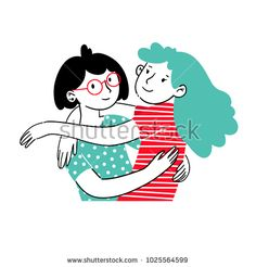 Trendy portrait of lovely girlfriends or siblings are embracing and smiling. Hugging couple. Embracing people. Colorful vector illustration in cartoon doodle hand drawn style. Illustration concept.