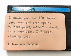 Anniversary Gift Copper Hand Stamped 7th Year Present For Husband Custom Quote Message Fits In Wallet