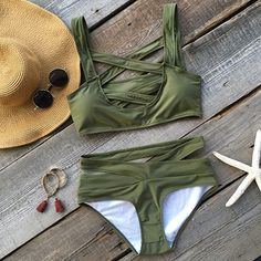 Cupshe Cross Me Olive Green Bikini Set