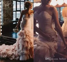 2018 Blush Pink Beach Wedding Dresses Mermaid S Sweetheart Sweep Train Bridal Gowns With Rullfles Tiered Organza Backless Plus Size Simple Wedding Dress Black And White Wedding Dresses From Bellee, $159.8| Dhgate.Com