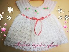 Vestido bebe tejido a crochet facil / Baby dress crochet easy Modern Crochet Blanket, Baby Afghan Crochet, Crochet Beanie, Crochet Cardigan, Crochet Stitches, Stitch Crochet, Crochet Girls, Crochet Baby Clothes, Crochet For Kids