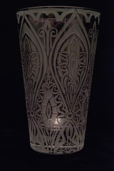 Gothic pattern design on vintage purple vase. Sold.