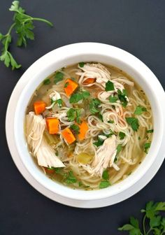 Slow Cooker Chicken Noodle Soup, a classic soup that is the definition of comfort food. Healthy, low calorie, easy to make, this soup is a family favourite. #slowcooker, #crockpotrecipes , #chickenandnoodles , #souprecipeseasy
