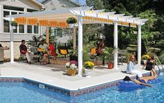 Dazzling Design Ideas Of Pool Shade Canopy. Mesmerizing Pool Shade Canopy Design featuring White Wooden Pergola and Striped Pattern Yellow Color Pergola Shade Canopy Diy Pergola, Retractable Pergola Canopy, Pergola Swing, Pergola With Roof, Wooden Pergola, Outdoor Pergola, Covered Pergola, Outdoor Decor, Pergola Ideas