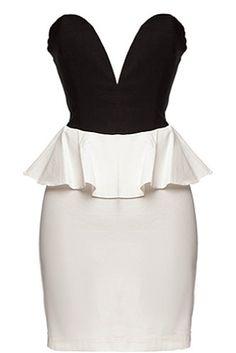 Peplum Plunge Dress | Black White Sweetheart Peplum Dresses | Rickety Rack