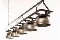 INDUSTRIËLE EETTAFEL LAMP POZNAN MET X METALEN KAPPEN (Aantal kappen (21 cm diameter): 2 kappen (70cm lang),Incl. lamp 4W LED dimbare spiraal filament 125mm amber gold glas?: Geen LED lamp) | Industriële eettafel lampen | www.industrial-home.com Industrial Dining, Industrial House, Living Room Decor, Bedroom Decor, Dining Table, Table Lamp, Gold Glass, Night Lamps, Led Lamp