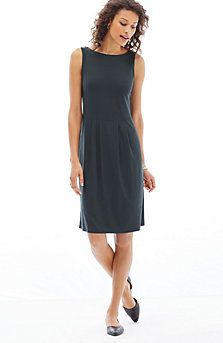 Wearever pleated boat-neck dress