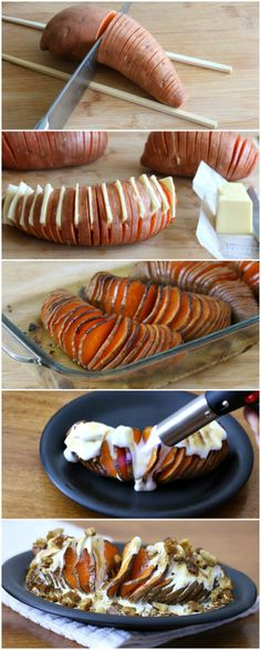 Hasselback Sweet Potatoes Yummy and different. I Love Food, Good Food, Yummy Food, Batata Potato, Hasselback Sweet Potatoes, Great Recipes, Favorite Recipes, Cooking Recipes, Healthy Recipes
