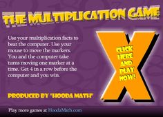 Use your multiplication facts to beat the computer. Multiplication Games, The Computer, Fun Learning, School Stuff, Make It Simple, Facts, Play, Boys, Summer