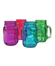 Primary Color Yorkshire Mason Jar Mugs Set.I love mason jars Mason Jar Mugs, Mason Jar Crafts, Iced Tea Lemonade, Colored Mason Jars, Canning Jars, Sweet Tea, Jewel Tones, Mugs Set, The Fresh