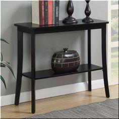Console Sofa Table Black Wood Hallway Entryway Shelf Living Room Furniture