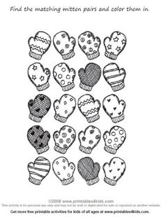 Preschool Math Worksheet Match the Mittens : Printables for Kids – free word search puzzles, coloring pages, and other activities Winter Colors, Winter Fun, Winter Theme, Educational Activities For Kids, Winter Activities, Preschool Winter, Preschool Worksheets, Preschool Activities, Coloring Sheets