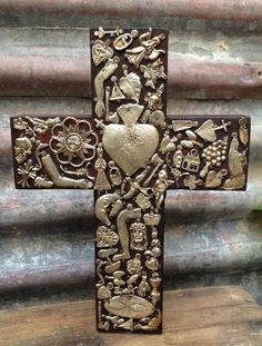 Large Wooden Cross with Milagros. Hand made in Mexico. – Salsa Sisters