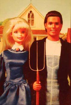 farmer Barbie and Ken so GOTHIC !