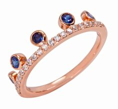 Khai Khai Jewelry Blue Sapphire Crown Stack Ring