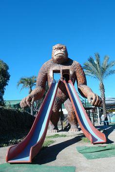 Toboganes de  animales  como del conocido gorila del Garden center Catalunya Plants, en San Vicens dels Horts. Gratuïto. También hay animales y los domingos paseos en poni (actividad de pago)  TIPO ACTIVIDAD:  parque / parc