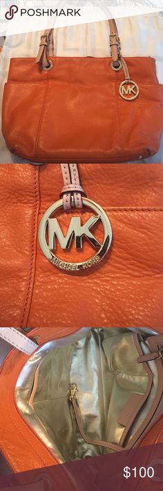 Michael Kors Leather Tangerine Color Shoulder Bag. Beautiful tangerine tote bag, soft leather with nude straps in great condition, medium size purse. Garment bag included, purse has a few scratches on the bottom. Bag features two large pockets on the outside, the inside is a gold color and has one big zipper pocket and four smaller ones. Michael Kors Bags Shoulder Bags