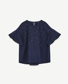 Image 6 of POPLIN TOP WITH PEARLS DETAIL from Zara