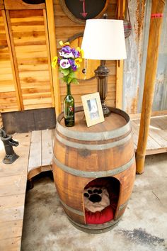 Rustic Pet House Made From A Wine Barrel