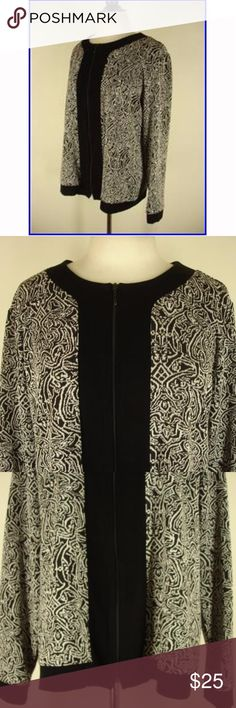 Chico's Travelers Collection Zip Up Cardigan Travelers Collection zip cardigan with timeless black and white scroll design.  Chico's size 2 equals a women's size 12-14.  Only worn a few times, in excellent condition Chico's Sweaters Cardigans