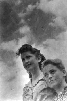 Lodz, Poland, Rachel Bohem (on the left) and Ruzka Shoshana Grosman.