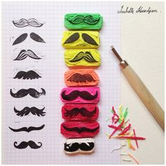 tampons moustaches / mustache stamps