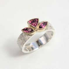 Pink Tourmaline silver and gold ring