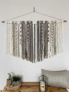 Yarn Tapestry - Brown, Grey and Ivory. Sizes: Length wooden rod with tapestry across x height Length wooden rod with tapestry across x height Length wooden rod with tapestry across x height Length wooden rod with tapestry Yarn Wall Art, Yarn Wall Hanging, Tapestry Wall Hanging, Wall Hangings, Macrame Wall Hanging Patterns, Macrame Patterns, Boho Diy, Bohemian, Macrame Design