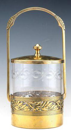 1930 WMF Art Deco brass Biscuit Box - Tiroche