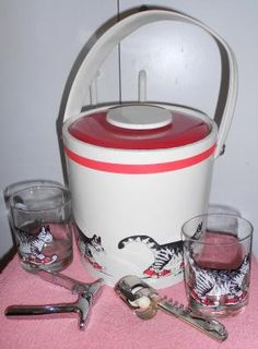 Kilban Ice bucket and two old fashion glasses, bar tools and Cheers shot glass