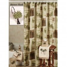 Palm Tree Bathroom Decor Ideas With Sweet Shower Hook Motif For Tropical Curtain