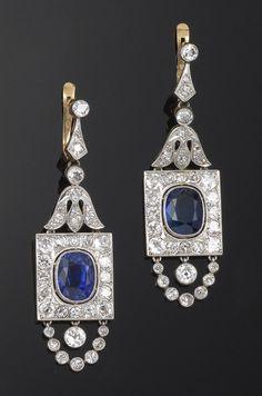 A pair of Belle Epoque sapphire and diamond drop earrings, cased. Bijoux Art Nouveau, Art Nouveau Jewelry, Jewelry Art, Jewelry Design, Diamond Brooch, Diamond Drop Earrings, Art Deco Diamond, Edwardian Jewelry, Antique Jewelry
